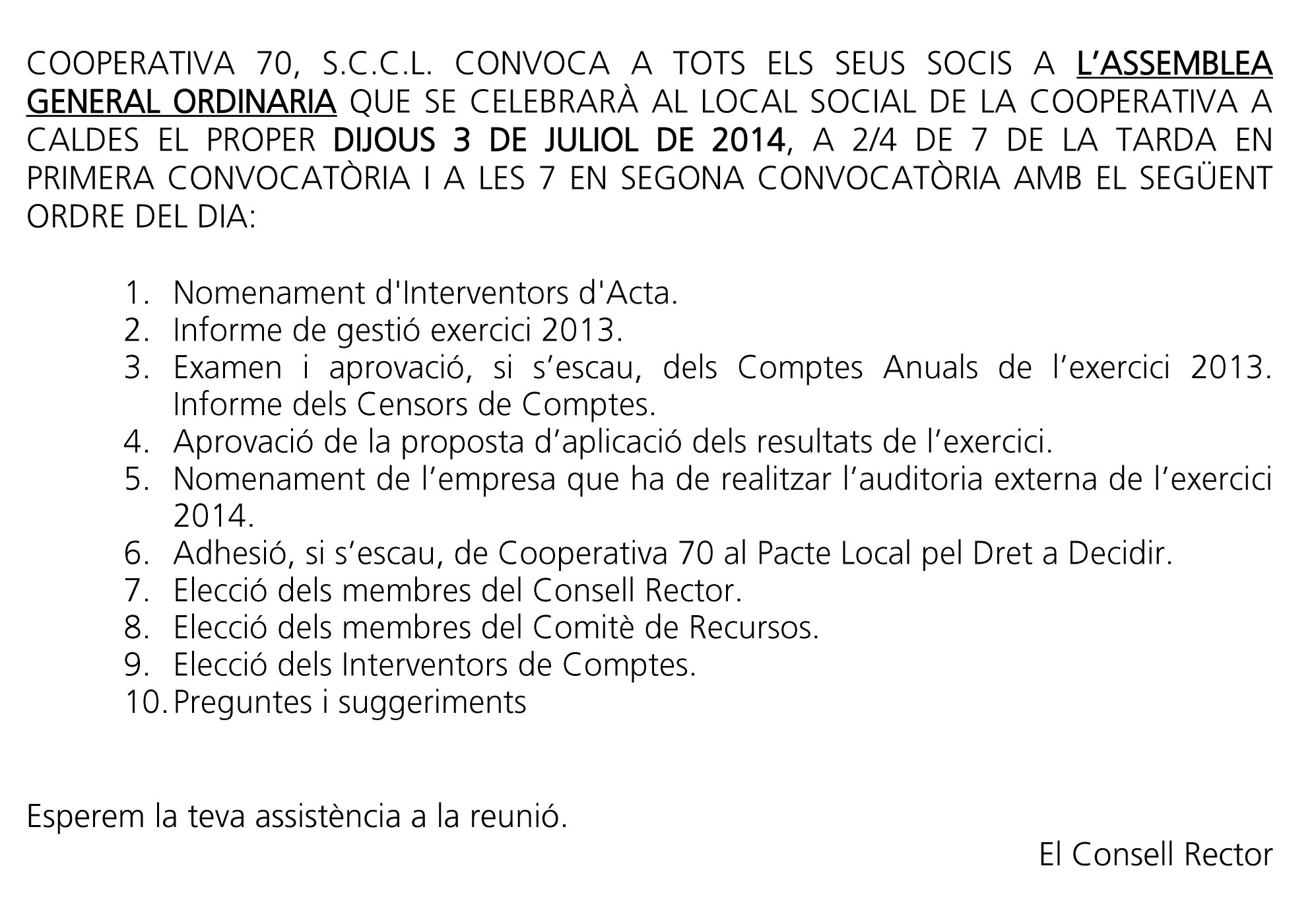 COOPERATIVA 70, S